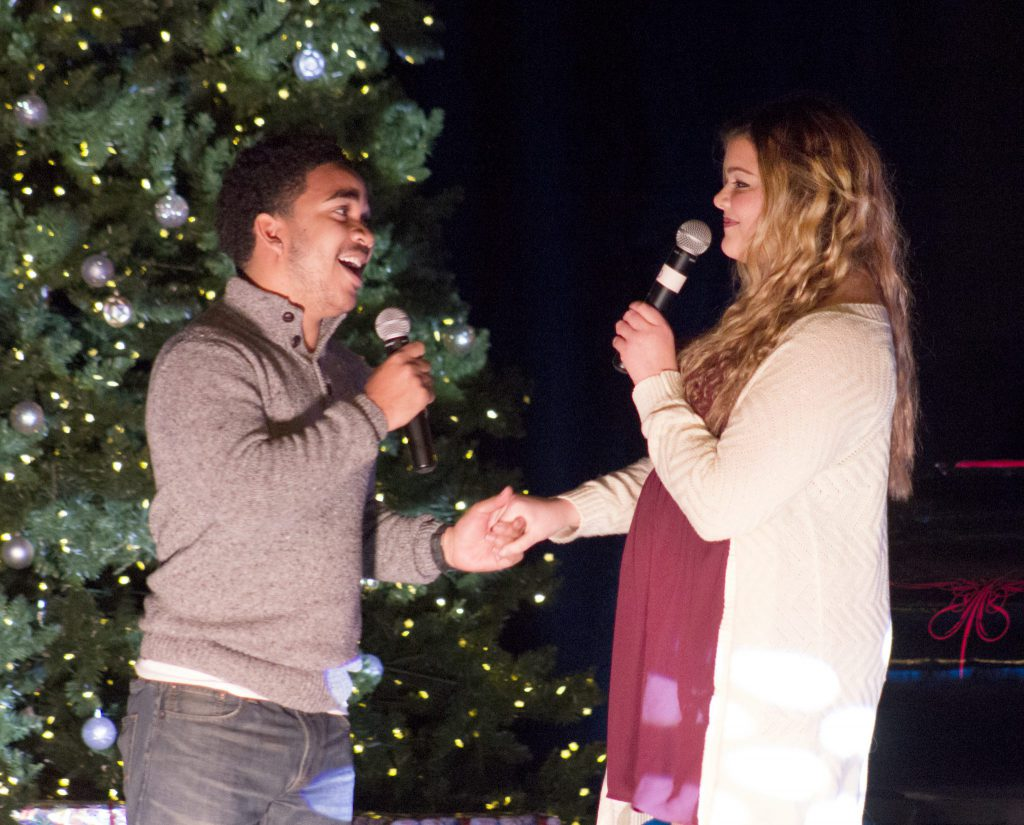 Freshman behavioral neuroscience major Caleb Holt and sophomore elementary education major Paige Davis (above) were just a few of the performers at the R Factor Holiday concert on Dec. 2.
