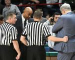 Head Coach Kevin Baggett and Siena coach Jimmy Patsos cool down after an altercation on Jan. 17.