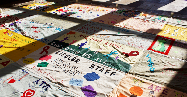 Photo of Quilt display raises awareness of on-going epidemic