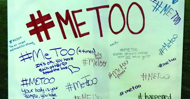 Photo of Students stand in solidarity with #MeToo display