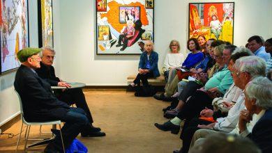 "Photo of ""Octogenarian"" artist Mel Leipzig discussed exhibit in Rider's art gallery"