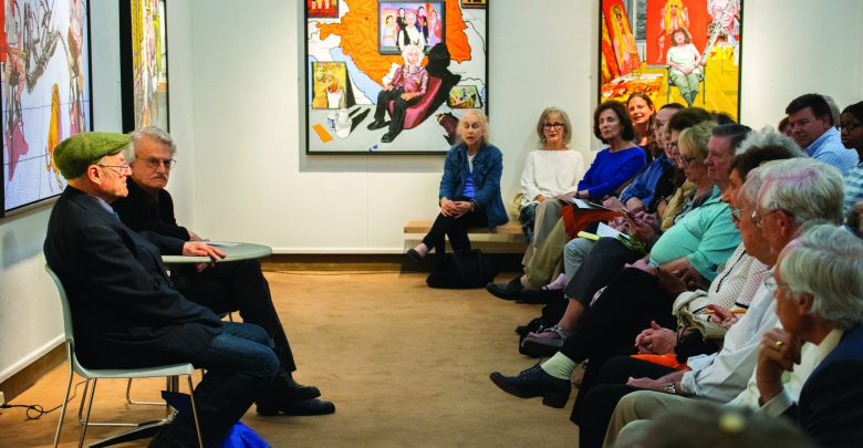 "Photo of ""Octogenarian"" artist Mel Leipzig discussed exhibit in Rider's art gallery"