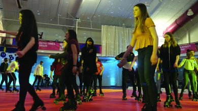 Photo of Students let the good times roll at Rider Roll Bounce