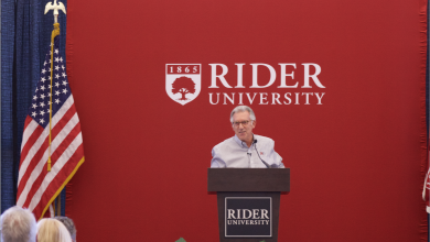 Photo of Rider President presents university updates at fall 2020 convocation