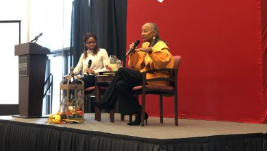 Photo of Former Essence magazine Editor-in-Chief Susan L. Taylor encourages Rider students