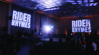 "Photo of ""Rider Rhymes"" rouses Rider students with raw raps"