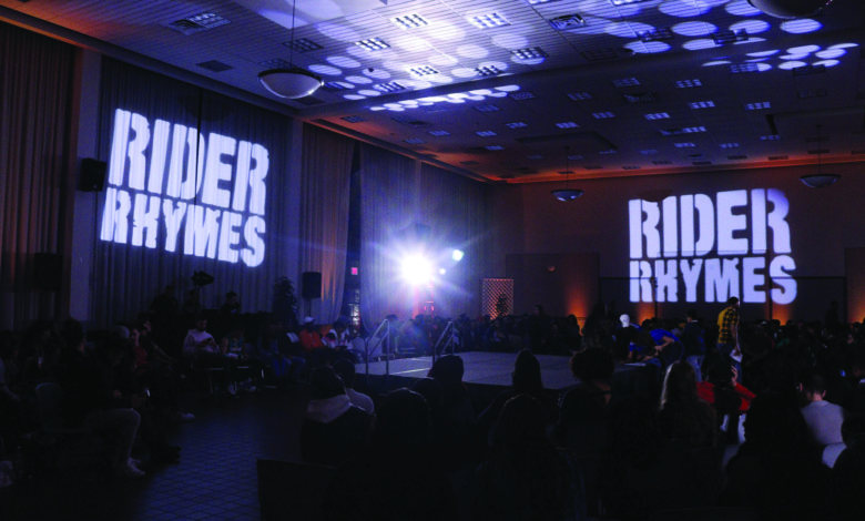"""Photo of """"Rider Rhymes"""" rouses Rider students with raw raps"""