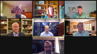 "Photo of Panelists from ""COVID's Business Impact"" virtual event discuss changes within industries"
